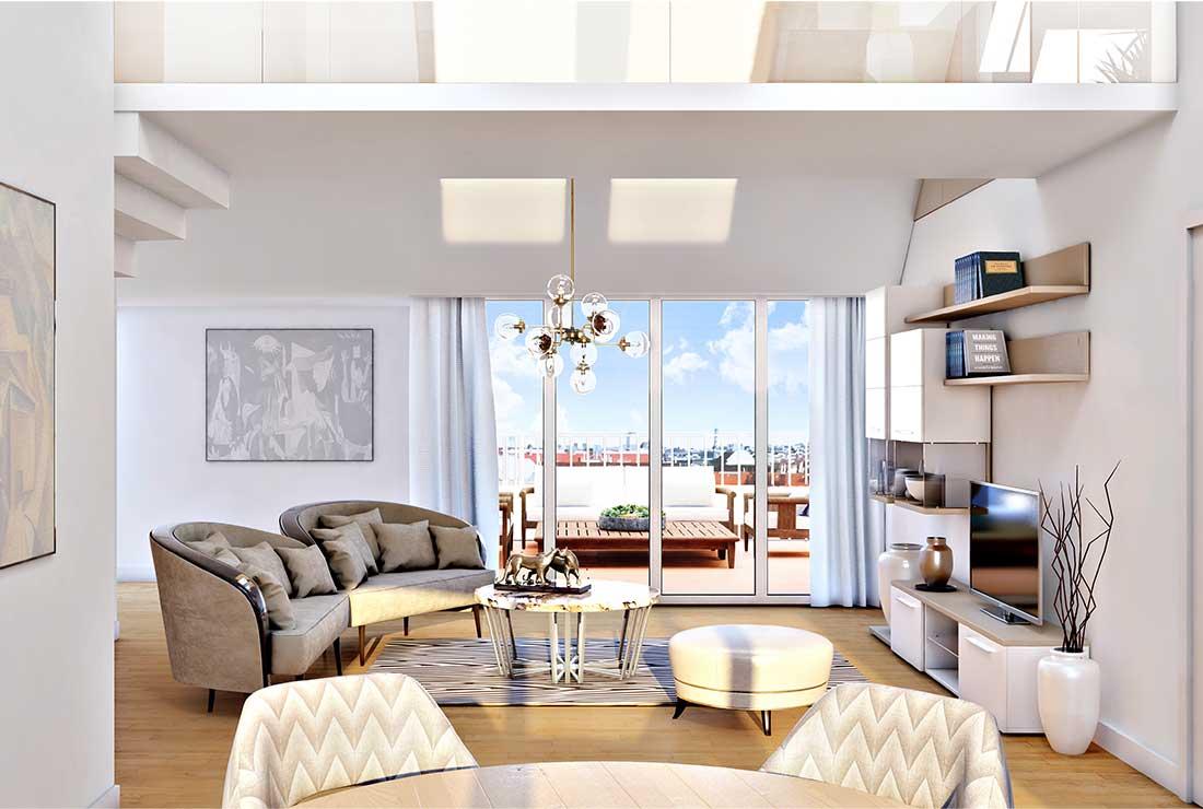 Top 19 Wohnzimmer mit Blick auf den Balkon